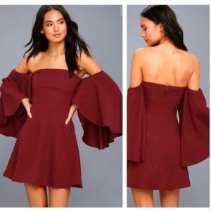 Lulu's NWT Moonlit Off the Shoulder Red Wine Dress